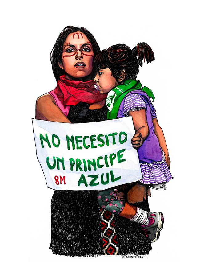 No necesito a un príncipe azul, Brigada Laura Rodig 8M, acuarela sobre papel, Santiago de Chile, diciembre de 2019