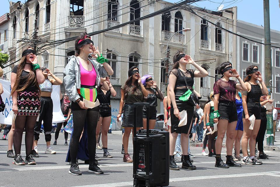 Protesta chilena pronunciada por Las Tesis