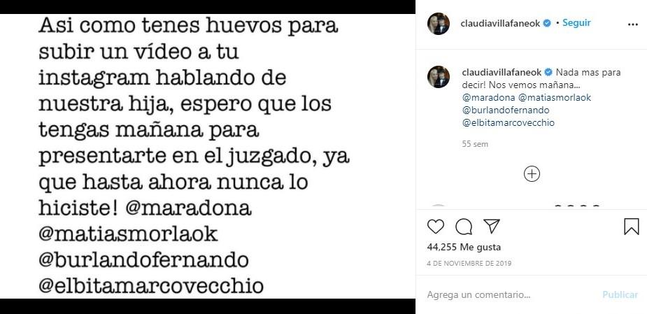 Publicación de Claudia Villafañe sobre la irresponsabilidad paternal del jugador.